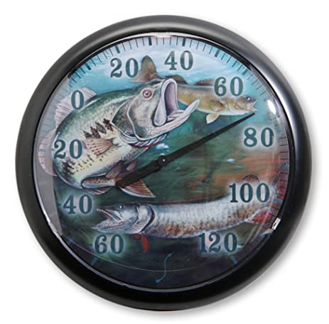 Delightful Springfield Fish Low Profile Patio Thermometer (13.25 Inch)