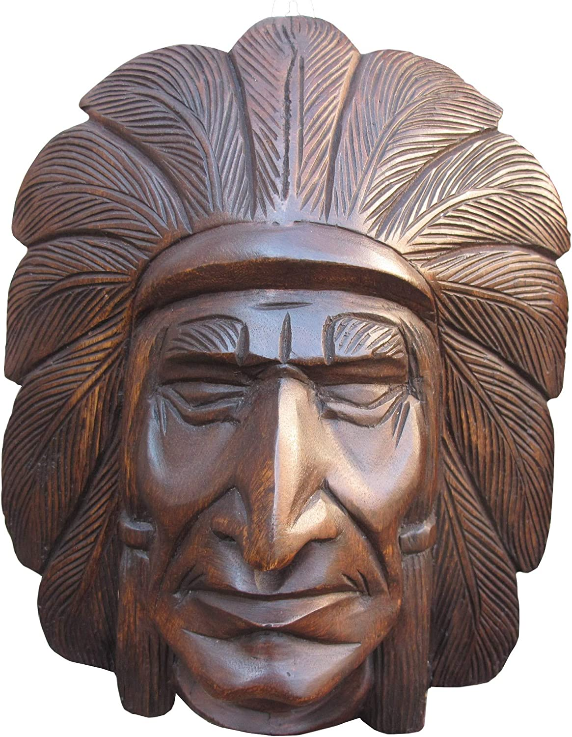 Wooden Cigar Store Indian Chief Statue Bust Head - Hand Carved Wood Wall Hanging Decor (Cherokee)
