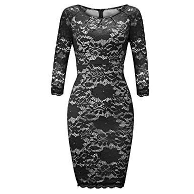 835ee8f41e FISOUL Women s 3 4 Long Sleeve Elegant Classy Knee Length Pencil Party  Cocktail Dress Black