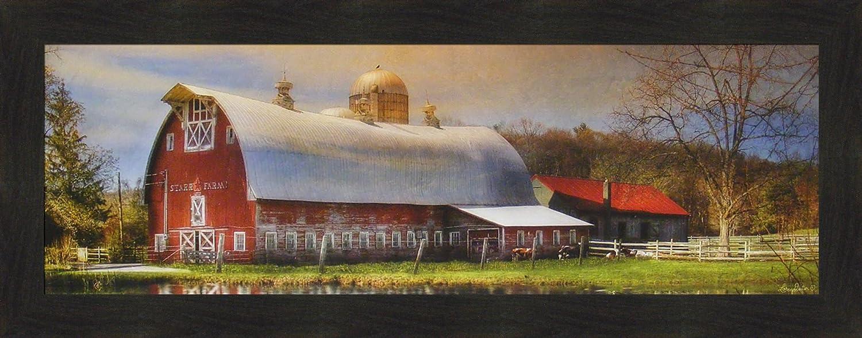 Home Cabin Décor Starr Farm by Lori Deiter 16x40 Framed Art Print Picture Red Barn Silo Pond Star Photo Country Farm