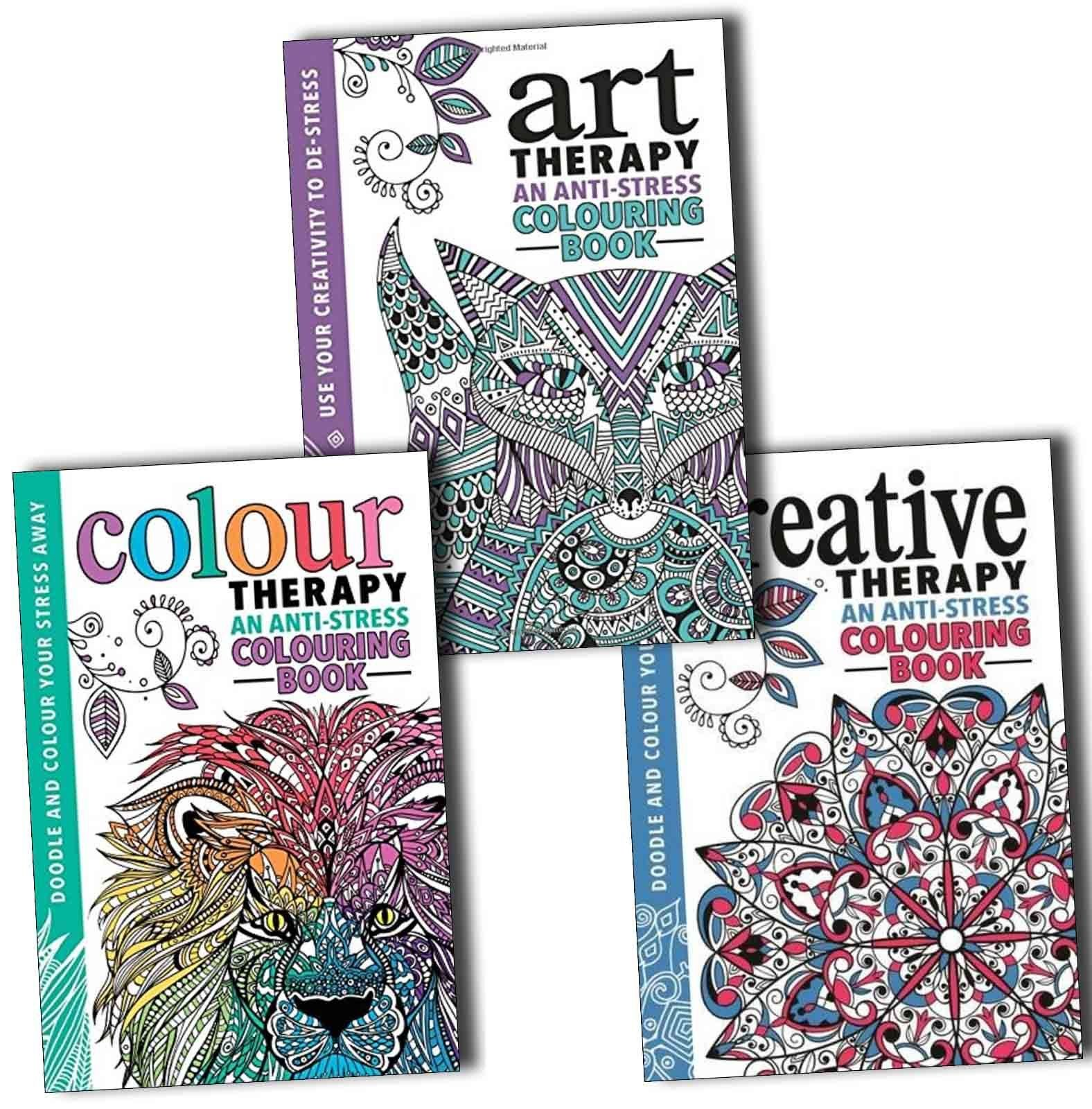 The Art Colour and Creative Therapy Anti Stress Adult Colouring 3 Books Collection PDF