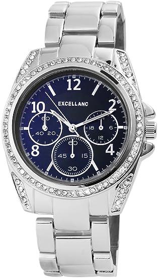 Reloj mujer azul plata Chrono de Look Analógica Metal Strass Reloj de pulsera