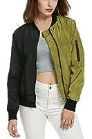 Zeagoo Women's Casual Zip-Up Solid Biker Jacket Short Slim Fit Bomber Jacket