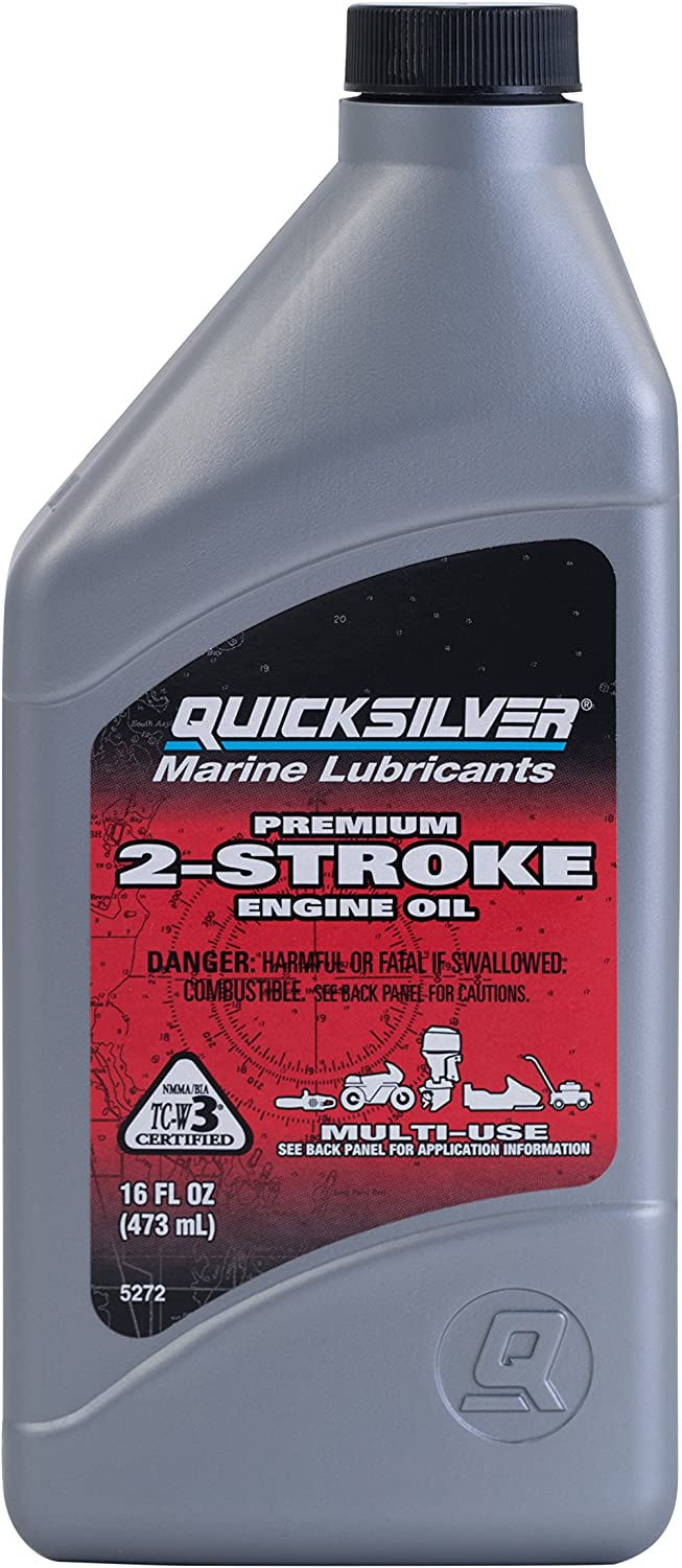 Quicksilver 858020Q01 Premium Two-Cycle TC-W3 Oil - Outboards, Personal Water Craft (PWC's), Snowmobiles, Motorcycles and Chainsaws, 1 Pint Bottle