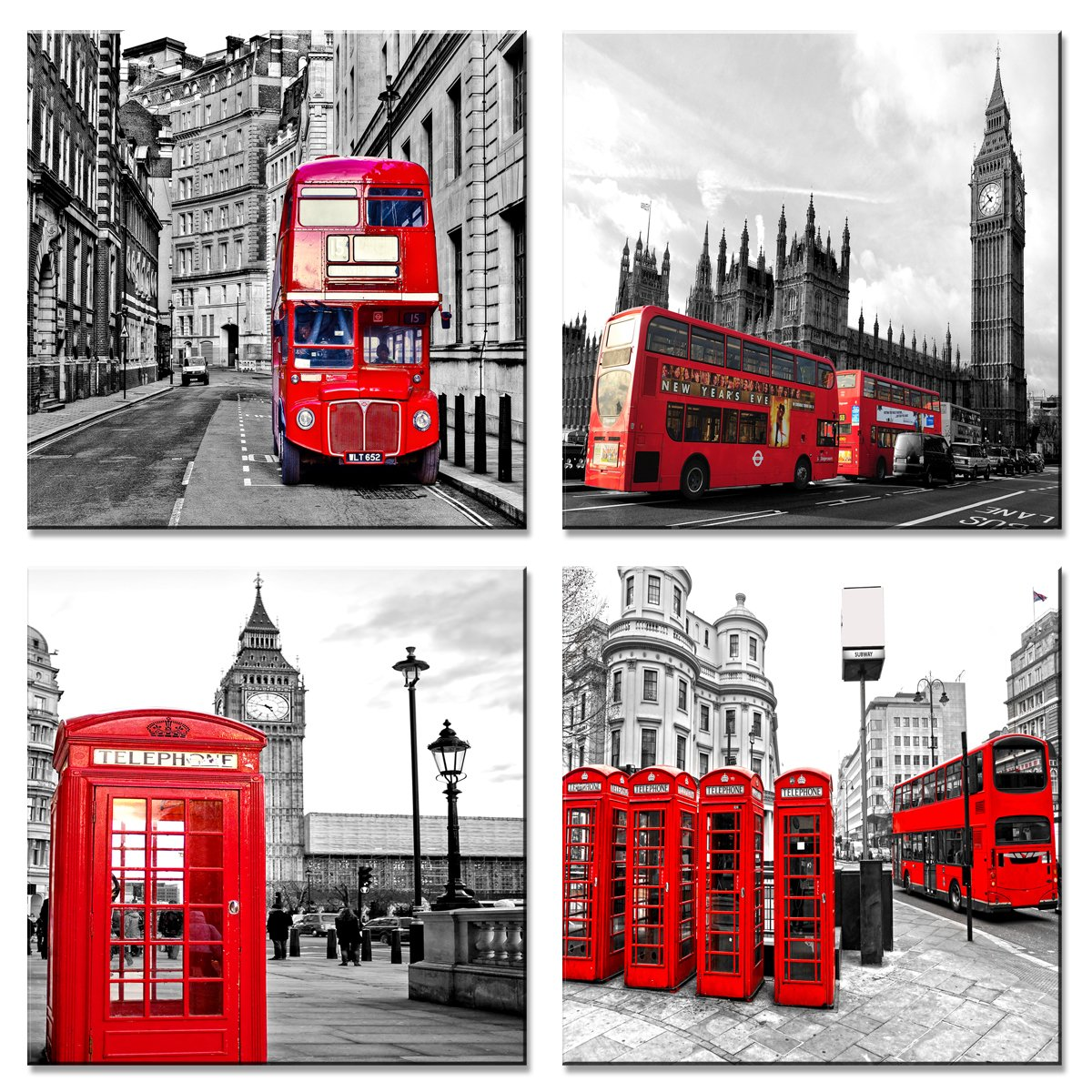 Red, 12x12inchx4pcs Amosiwallart Canvas Wall Art Black and White 4 Panels Red London Bus Canvas Print Framed Art for Bedroom Living Room Decor