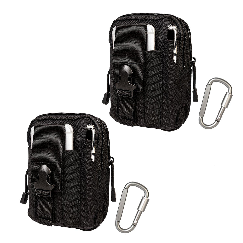 KrisVie Tactical Molle EDC Bolsa de cintura 1000D, para acampada, senderismo al aire libre, equipamiento con soporte para telé fono mó vil para iPhone 6/6S (Negro 2pcs) equipamiento con soporte para teléfono móvil para iPhone 6/6S (Negro 2pcs