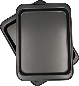Chef Select Toaster Oven Cookie Sheets, Set of 2, 9.75 x 7.25-Inches, PTFE and PFOA free, Non-Stick, Steel Baking Pans