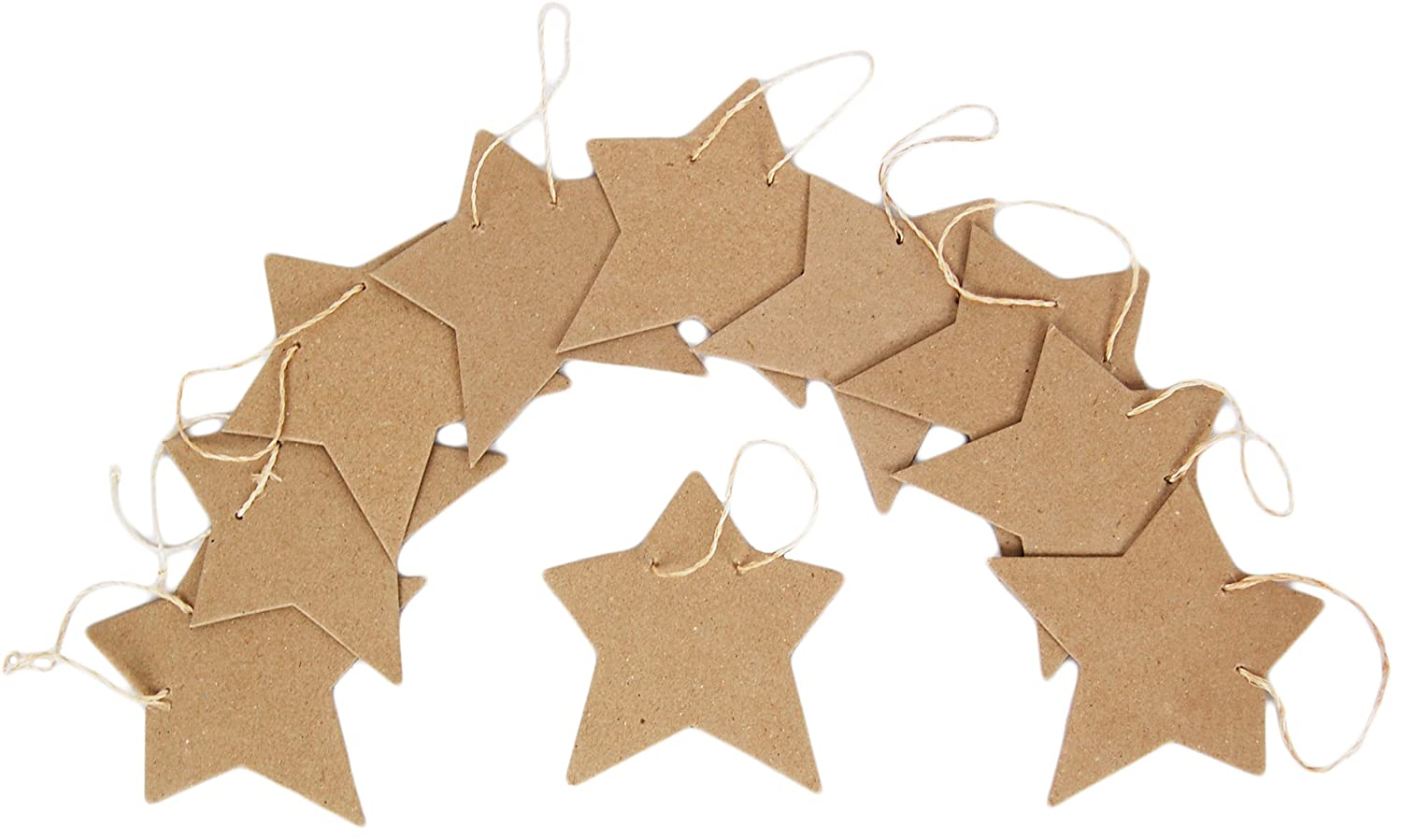 Country Love Crafts Star Shaped Hanging Tags Papier Mache, Pack of 10 CLP1057