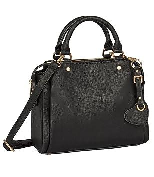 749b941ece918 SIX Basic kleine kastenförmige Schwarze Damen Henkel Handtasche mit 3  Fächern
