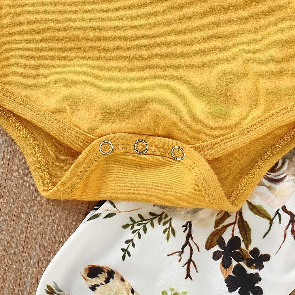 Stirnband Neugeborene Kleinkinder Baumwolle Outfits Set 3 St/ück Hose YEBIRAL Babykleidung Set Baby M/ädchen Kleidung Kurzarm Body Strampler