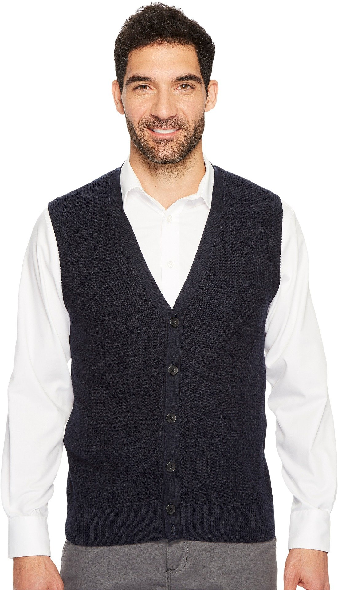Perry Ellis Men's Solid Textured Button Front Sweater Vest, Dark Sapphire, Small