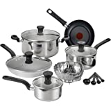 T-fal C911SE Excite Stainless Steel Dishwasher Safe Oven Safe PFOA-Free Cookware Set, 14-Piece, Silver
