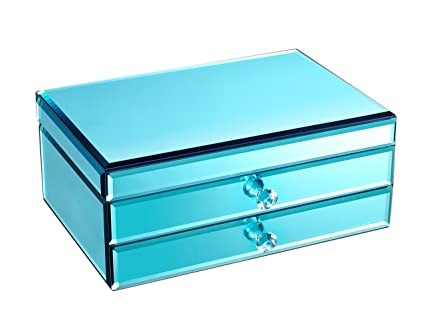 Espejo Concha de océano azul cristal joyas caja de almacenamiento organizador caso pantalla impreso