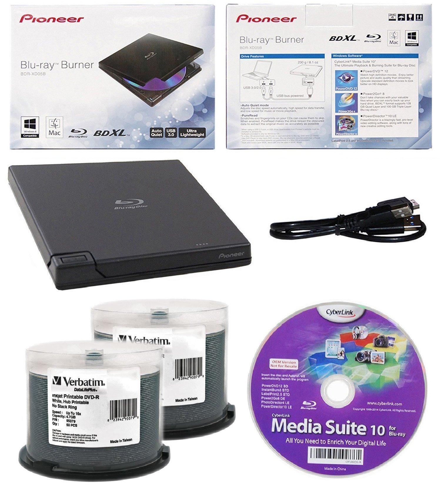 Pioneer 6x BDR-XD05B Ultra Lightweight External Blu-ray BDXL Burner, Cyberlink Software and USB Cable Bundle with 100pk DVD-R Verbatim 4.7GB 16X DataLifePlus White Inkjet, Hub Printable