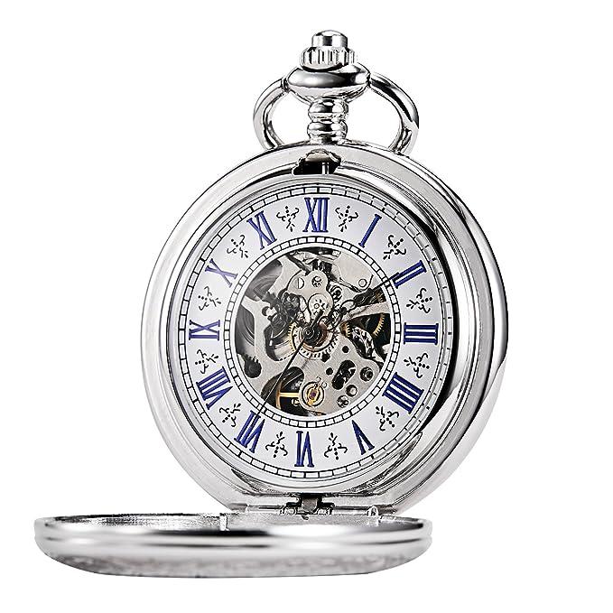 Tree weto Taschenuhr con Cadena Hombre Plata números Romanos Retro Reloj Grabado Caja Taschenuhren mecánico Pocket Watch