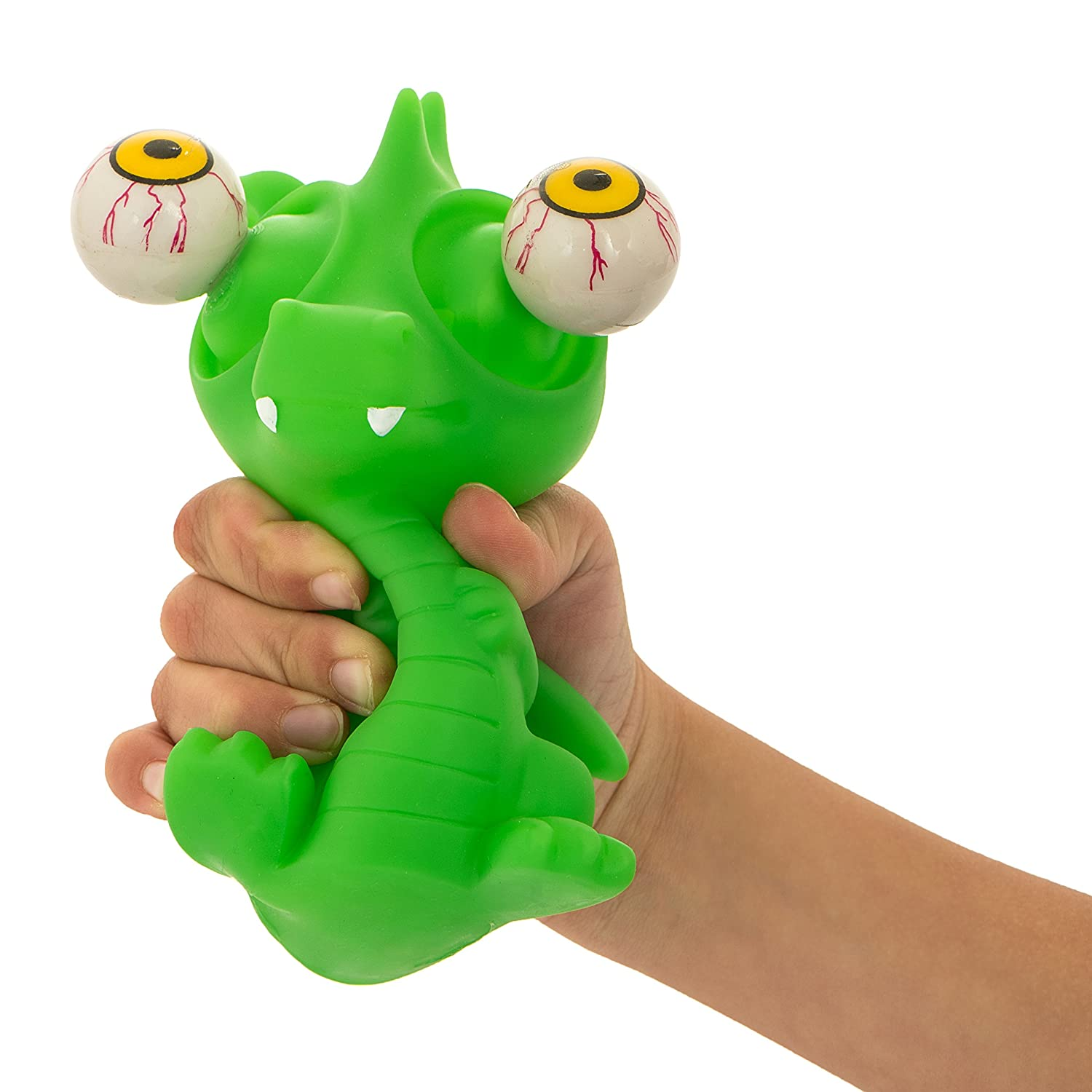 Amazon.com: Squishy Eye Popping Dragon By Funky Toys - Large Green ...