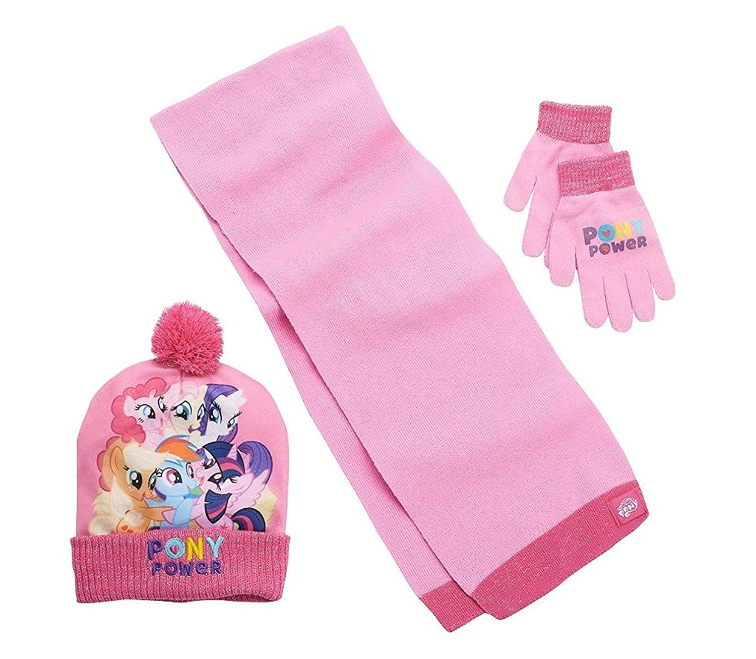 Girls Pink My Little Pony Winter Accessories Set- Hat, Scarf, Mittens MLP865