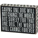 Saving One Dog Black Wooden Vintage Style Paw Print Box Sign