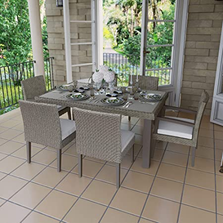 Amazon Com Martha Stewart Oakland 7 Piece Aluminum Frame Grey Rectangular Patio Dining Set Garden Outdoor
