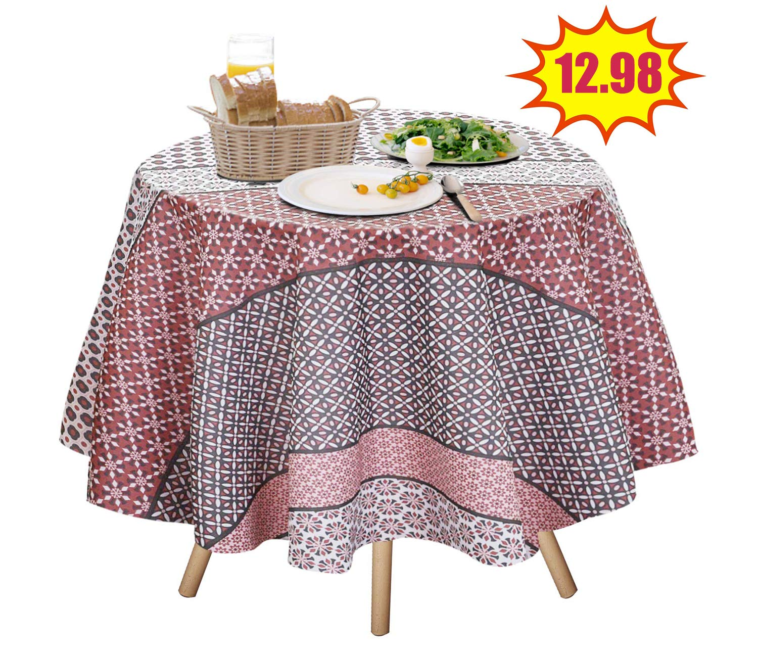 Polka Dot Pink, 70 Round JIATER Elegant Printed Table Cloth Spillproof Polyester Fabric Round Tablecloth