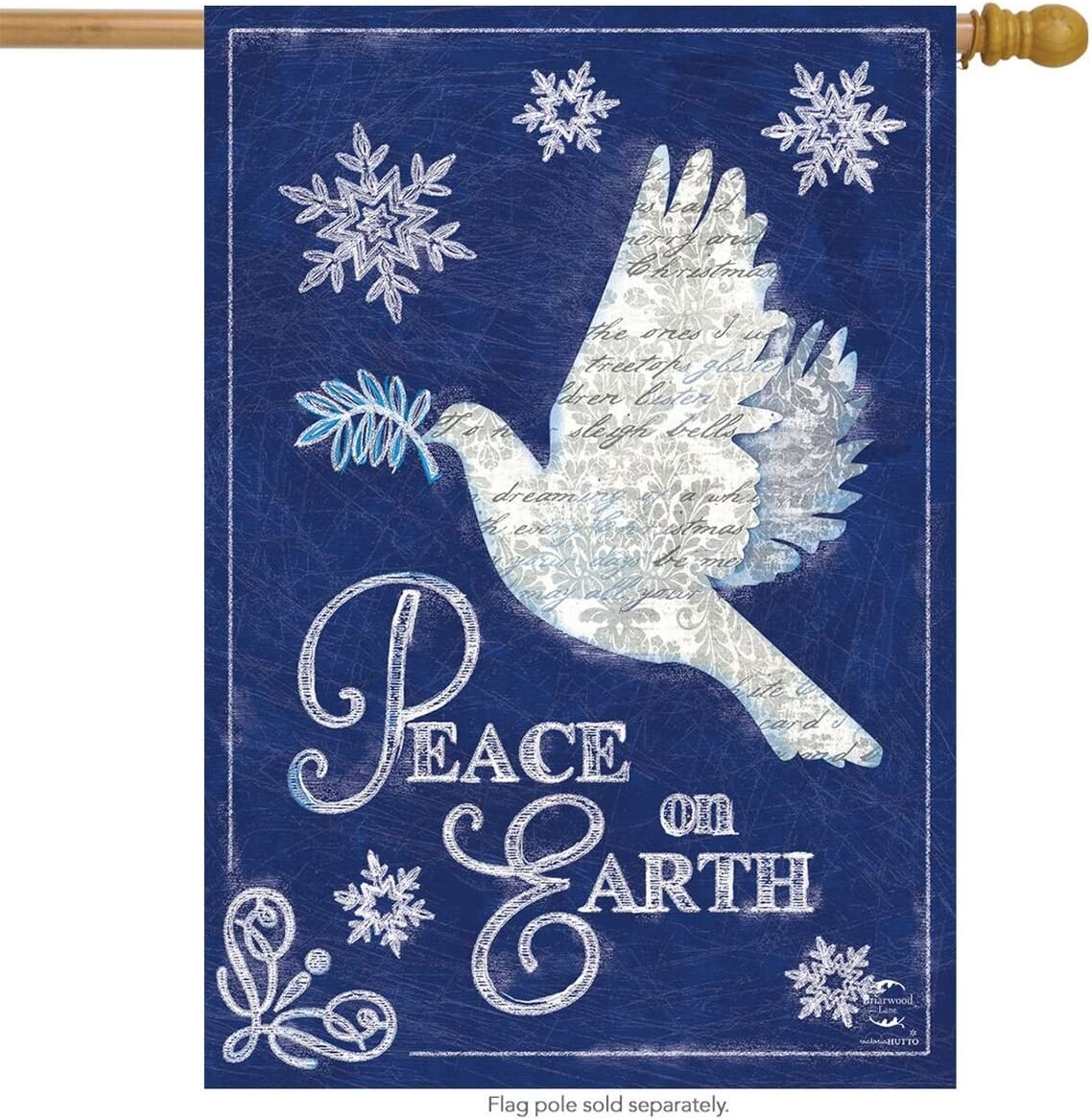 "Briarwood Lane Peace On Earth Christmas House Flag Dove Snowflakes 28"" x 40"""