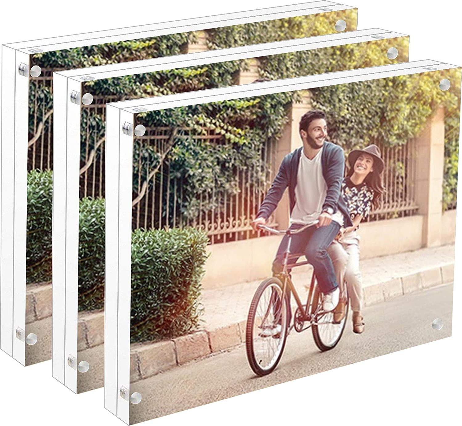 Cq acrylic 3pack 5x7 Acrylic Frame, Magnetic Picture Frames, Clear, 10 + 10MM Thickness Stand in Desk/Table
