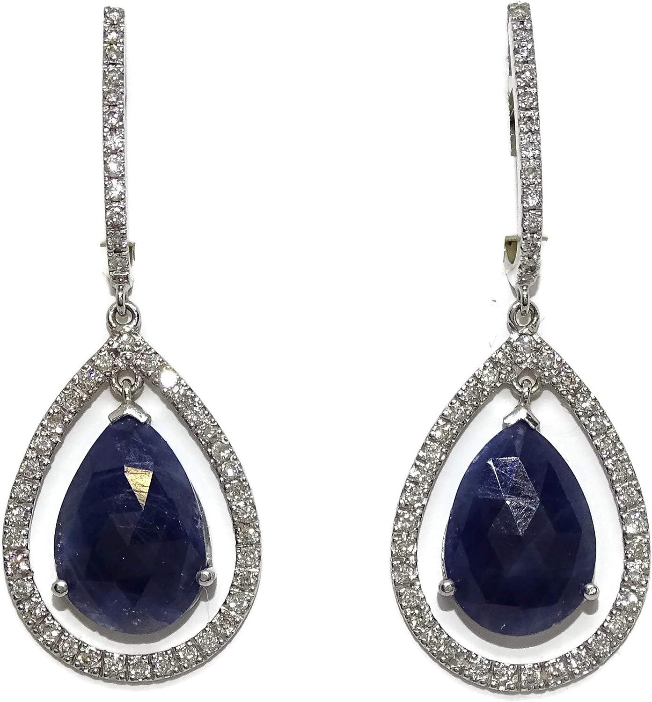 Pendientes de oro blanco de 18k con 0.75cts de diamantes y 2 zafiros salvajes naturales de 10.50cts