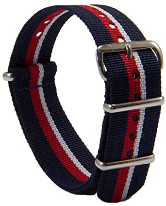 aa666c158 The Regimental Shop G10 (NATO) Adult Polyester Grosgrain Royal Navy Watch  Strap 524, Red/White/Blue: Amazon.co.uk: Watches