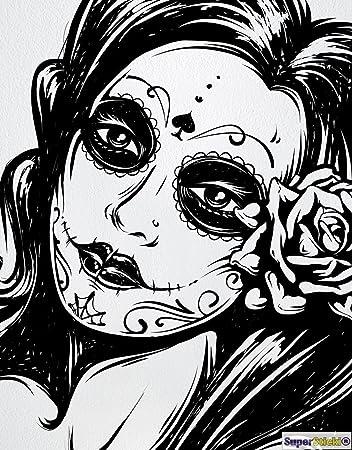 La Catrina Tattoo Mexikanisches Madchen Wandtattoo Ca 60 X 60 Cm