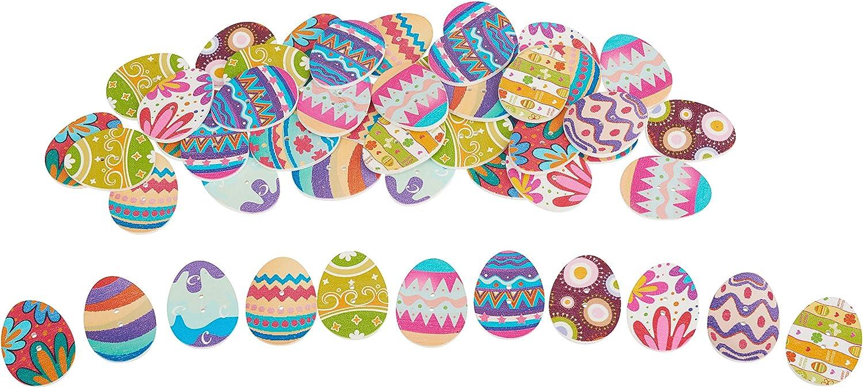 50er-Pack Holzkn/öpfe OstereierFunny Eggs bunt viele Motive 3-2,3cm Holz VBS Gro/ßhandelspackung