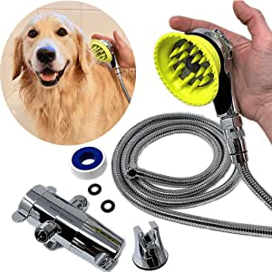 Wondurdog Deluxe Dog Wash Kit for Shower | Chrome Water Sprayer Brush & Rubber Shield w/Water Pressure Control | Indoor and Indoor/Outdoor Versions Available