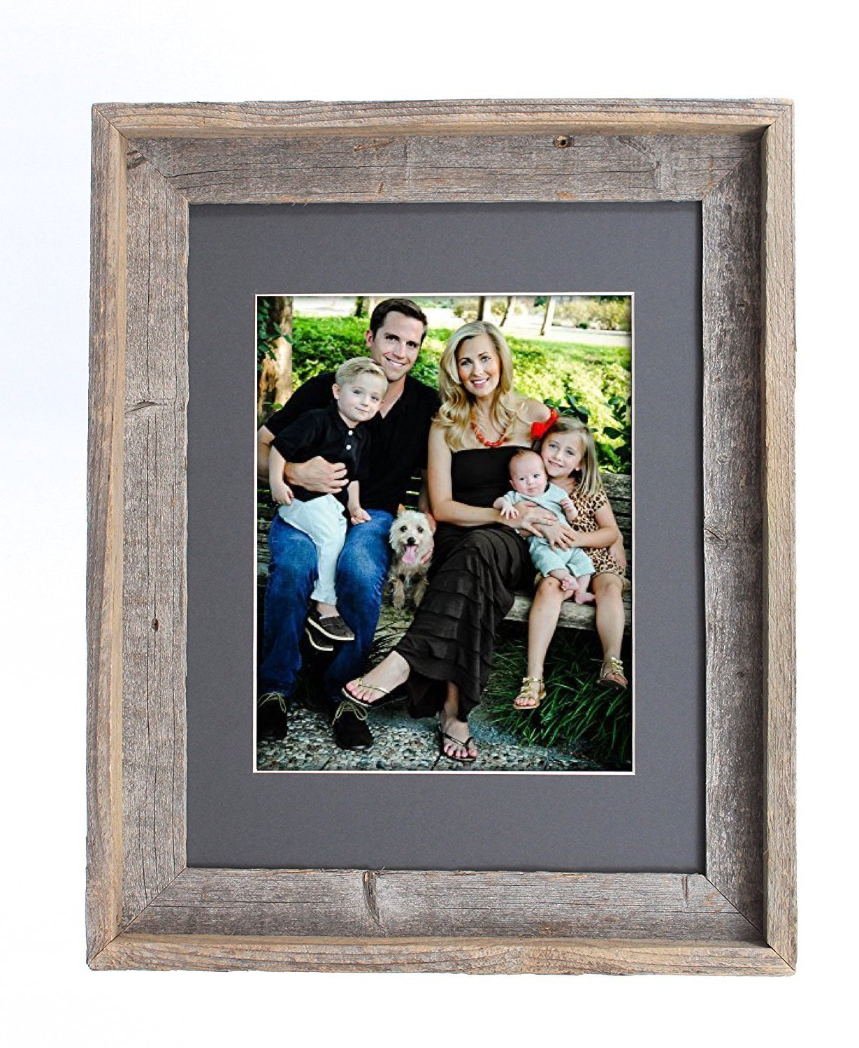 BarnwoodUSA 11x14 Inch Signature Picture Frame Matted for 8x10 Inch Photos - 100% Reclaimed Wood, Cinder Mat by BarnwoodUSA