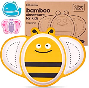 GET FRESH Bamboo Kids Divided Plates – 1pc Cute Bee Bamboo Toddler Divided Plate with 3 Compartments – Reusable Animal Sectioned Bamboo Fibre Childrens Plates – Dishwasher Safe Bamboo Kids Dinnerware