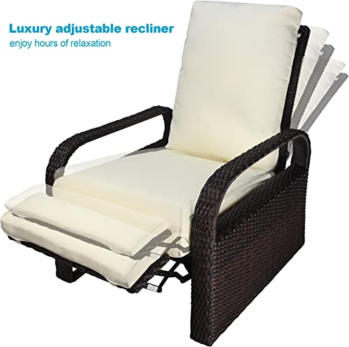 Outdoor Recliner Wicker Patio Adjustable Recliner Chair with 5.11 Cushions and Ottoman,Rust-Resistant Aluminum Frame,All-Weather Resin Rattan, Brown Beige