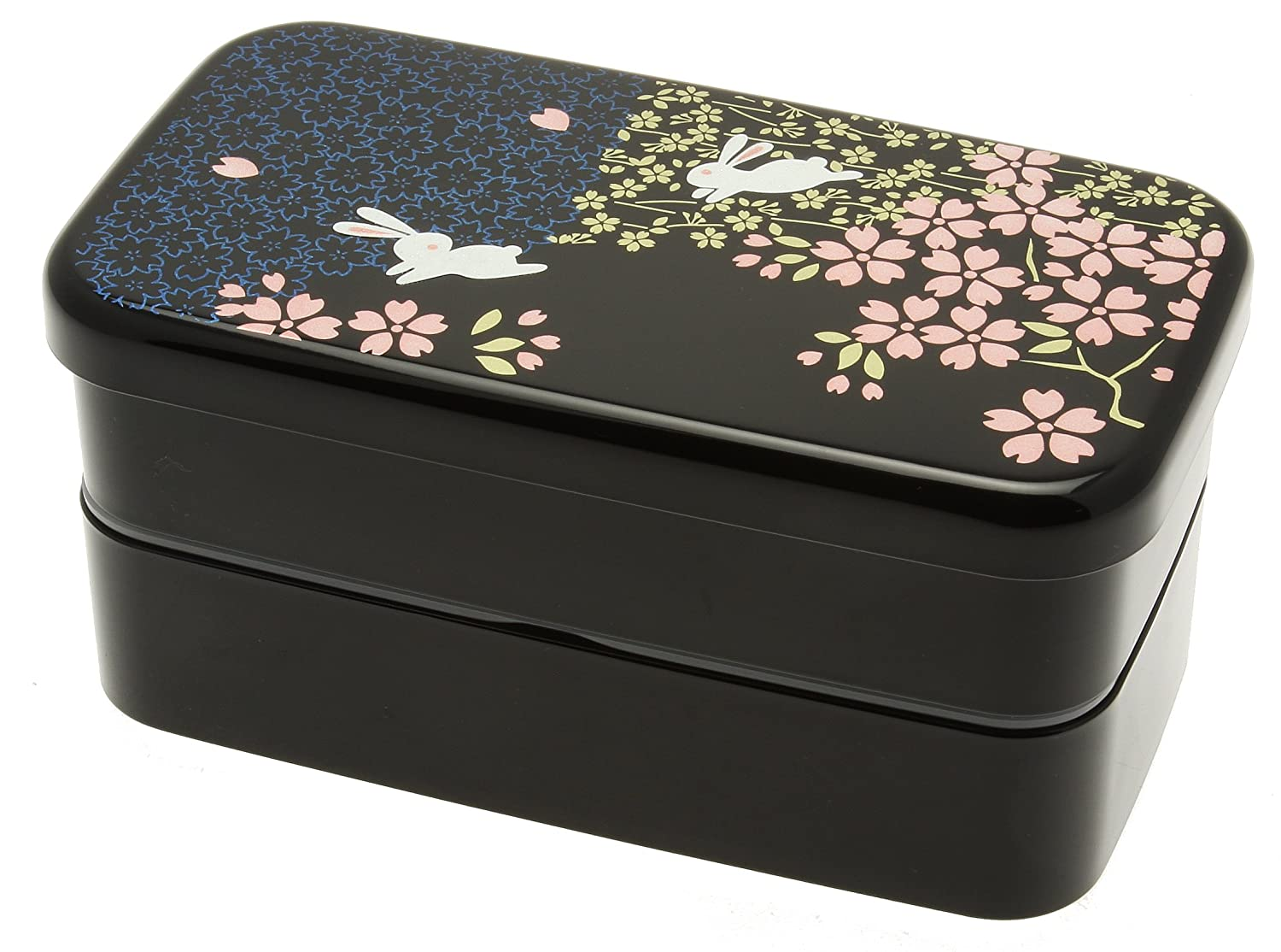 Kotobuki 280-274 2-Tiered Bento Box, Rabbit and Cherry Blossom