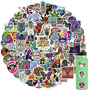 100PCS Stoner Psychedelic Stickers, Vinyl Waterproof Stickers for HydroFlask Water Bottle Laptop Computer Skateboard MacBook, Waterproof Decal for Teens and Adults