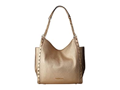38f22835def0fa Michael Kors Womens Newbury Metallic Leather Shoulder Handbag Gold Large