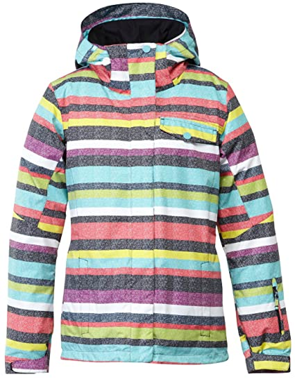 Roxy Jetty chaqueta de la mujer, mujer, Poolside Stripes_Anthracite, medium