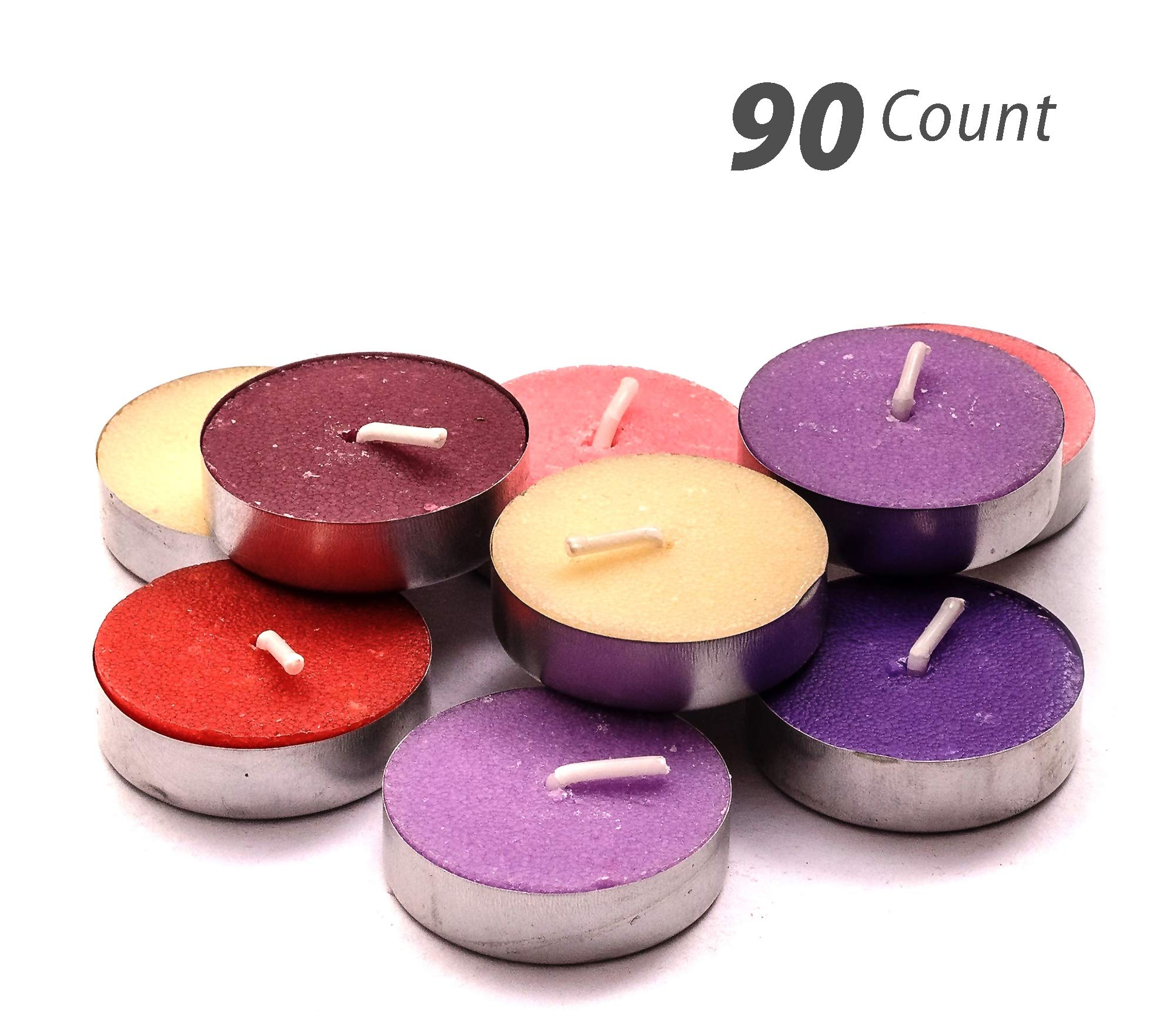 Exquizite Variety Collection - Highly Scented Luxury Tealight Candles - 90 pcs - Set of 15 Tealights with 6 Fragrances - Lavender, French Vanilla, Rose, Apple Cinnamon, Lilac and Black Cherry by Exquizite