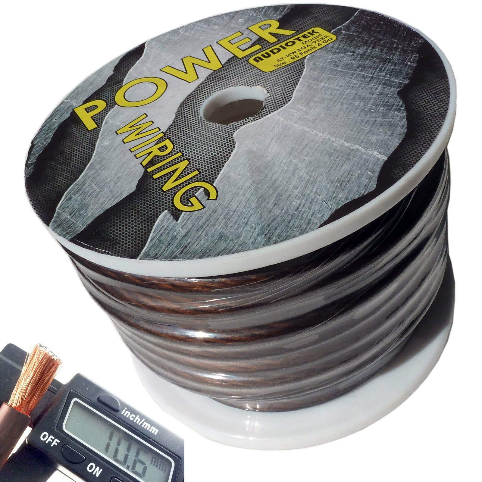 AUDIOTEK 4 Gauge Super Flexible Wire 95 FT Black ROLL Spool FEET AWG Hyperflex 95 FEET US