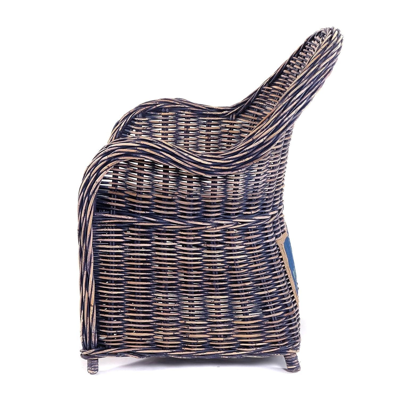 Poltrona reclinabile in Rattan DESIGN DELIGHTS Rattan im Trend Blu Colore