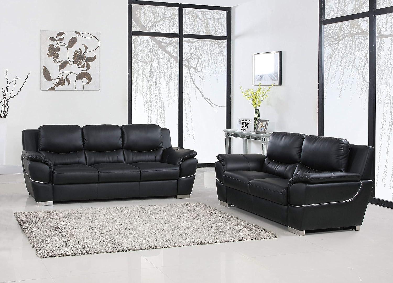 Amazon com blackjack furniture 4572 black 2pc contemporary living room sofa and loveseat set black kitchen dining
