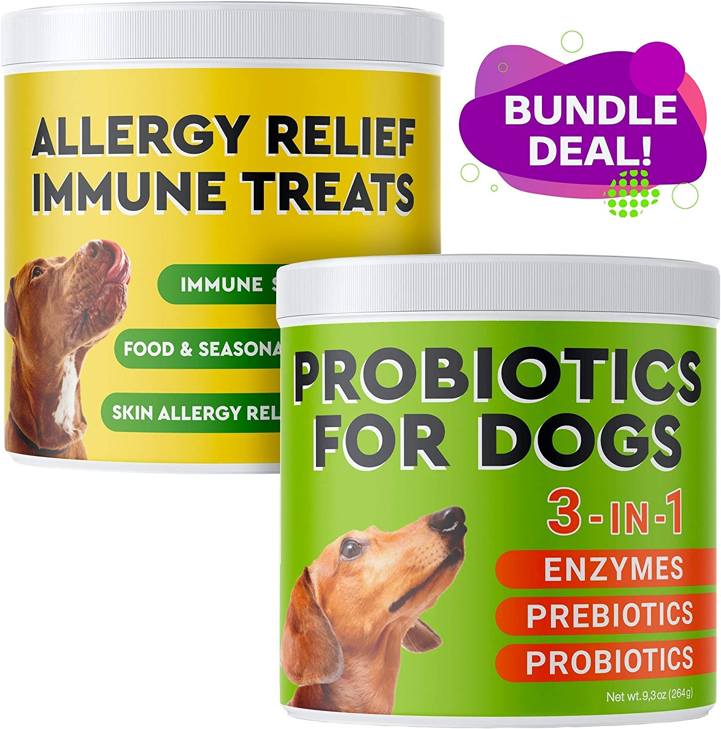 Pawfectchow Allergy Relief + Probiotics for Dogs Combo - Immunity Supplement with Omega 3 Salmon Fish Oil, Colostrum for Anti Itch & Skin Hot Spots + Dog Probiotics Chews and Digestive Enzymes
