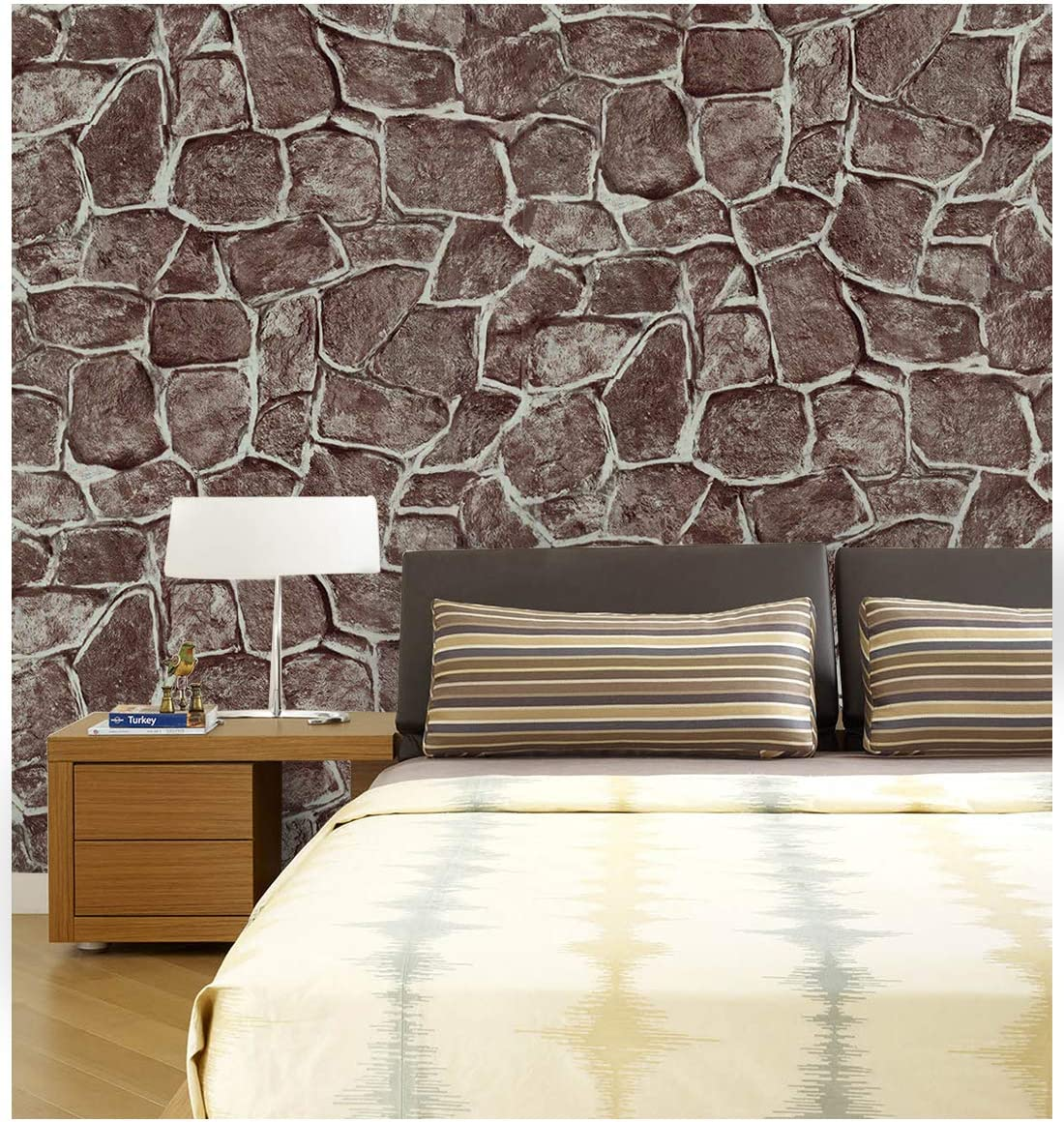 Dwind D1303 Realistic Stone Contact Paper Self Adhesive Wallpaper 17.17 x 118 Reddish Brown Peel and Stick Wallpaper for Home Kitchen Countertop Cabinet Furniture Vinyl Waterproof