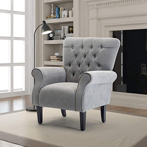 HOMEFUN Accent Arm Chair, Mid-Century Modern Fabric Single Sofa with Wood Legs for Living Room Bedroom, Light Grey