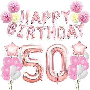 Fiori 50 Anniversario.Amazon Com Kungyo 50th Birthday Decorations Kit Rose Gold Happy