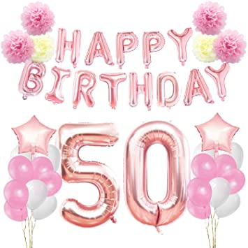KUNGYO 50th Birthday Decorations Kit Rose Gold Happy Banner Giant Number 50 Star