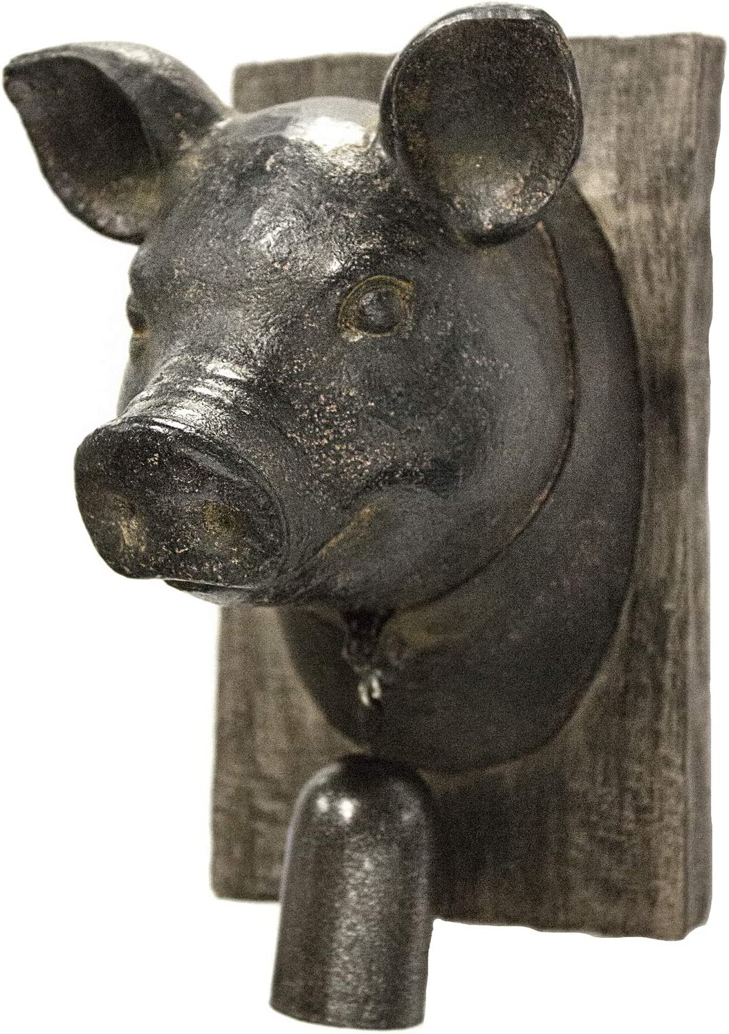 Sagebrook Home 11139 Pig Head W/Bell Wall Plaque, Rust Polyresin, 5.75 x 4.5 x 7.5 Inches