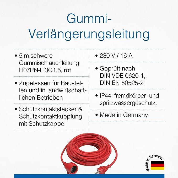 As Schwabe Gummi Verlängerungsleitung 5 M Kabel Mit Schutzkontaktwickelstecker Schutzkontaktkupplung Inkl Schutzkappe 230 V 16 A Verlängerungskabel Ip44 Made In Germany Rot I 60272 Baumarkt