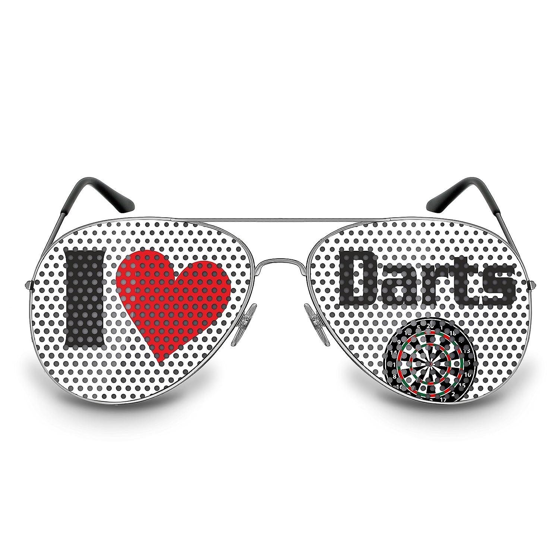 COOLEARTIKEL Dart-Brille Party-Brille Spaß-Brille mit Motiv I love Darts, bedruckte Sonnenbrille für Dart Fans (Pilotenbrille silber)